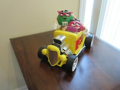 Vintage M&M Candy Dispenser Rebel Without A Clue Yellow Roadster Hot Rod Car Red