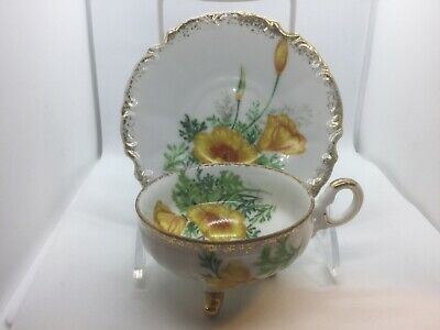 Vintage Tea Cup And Saucer, 3-Footed, Orange & Yellow Poppies, Fancy Handle