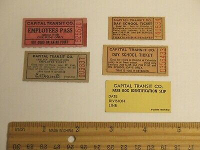 Capital Transit Co Lot Of Tickets Employees Pass Fare Box Identification Trolley