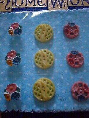 Antique Vintage Collectable Buttons 9 Plastic floral Pink Craft sewing flowers