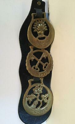 Horse Harness 3 Brass Medallion Ornament On Leather Bless This House