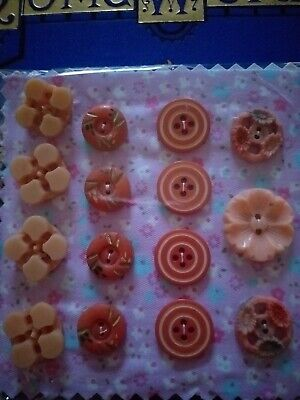 Antique Vintage Collectable Buttons 15 Plastic Pink peach Craft sewing flowers