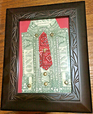 $1 Us Notes - Framed Folded Art - Western Shirt With Red Tie And Longhorn Tietac