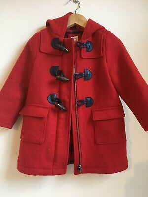 Baby Gap Toddler Girl 3 Years Red Duffle Coat Check Plaid Lining Hood Wool Mix