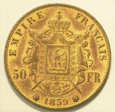 1859 France 50 Francs Token Gold Plated Copper #6806