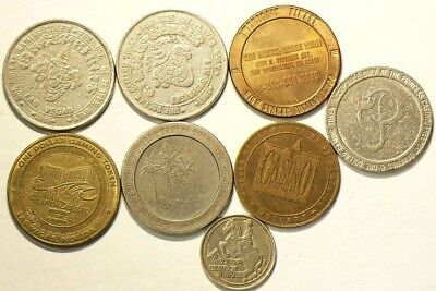 Casino Tokens Lot of 8 Circulated #6801