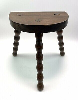 Vintage French Stool Bobbin Legs Side Table Plant Stand Rustic Country Farmhouse
