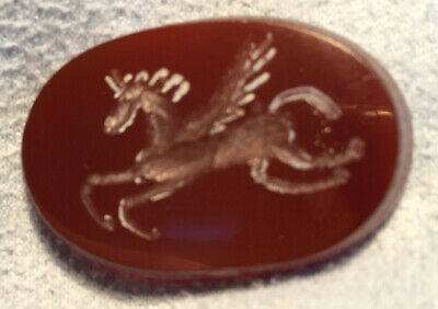 Two Sided PEGASUS /DOVE  from NOAH's ARK Intaglio Ring Stone Not Ancient