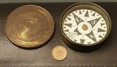 19th Century Brass Cased Compass. Antique Parry & Co? Floating Dial Compass.