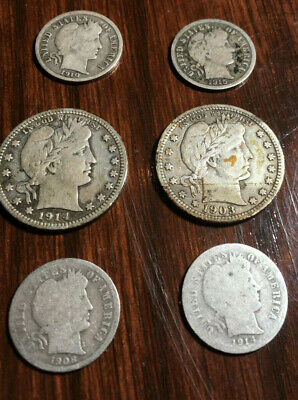 Lot of US Barber coins quarters dimes silver