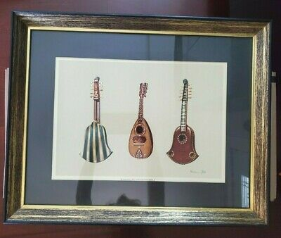 Quinterna And Mandoline Musical Instrument Print Signed By William Gibb In Frame