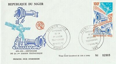 Postage Stamps NIGER 1st Day of Issue Cover Centenary of The Telephone 1976