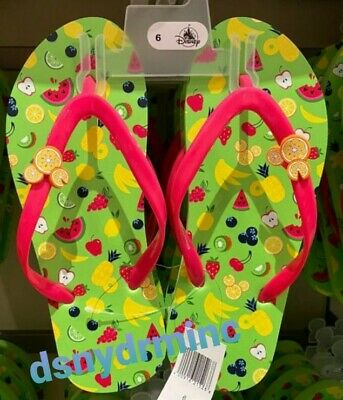Disney Parks Summer Fruit Mickey Mouse Icon Flip Flops 6 7 8 9 10 NEW Sandals