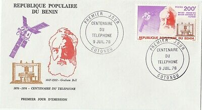 Postage Stamps BENIN 1st Day of Issue Cover Centenary of The Telephone 1976