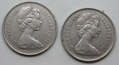 Large Ten New Pence 1968 & 1979 - 2 coins
