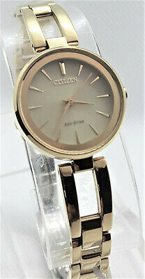 Citizen $275 Women's Eco-Drive Gold Axiom Bangle Champgne Dial Watch Em0638-50P*