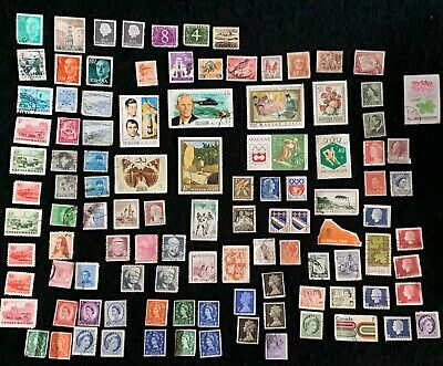 World-Wide Lot of used Off-Paper Stamps Very Nice Mix, Well Over 100 Stamps