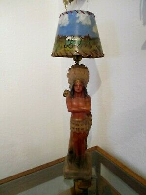 Antique Chalkware Native American Chief Lamp Western Theme Shade Hand Painted