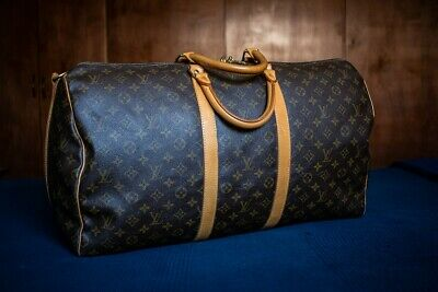 Authentic Louis Vuitton Monogram Keepall 55 Bandouliere Bag Brown (Code SD1904)