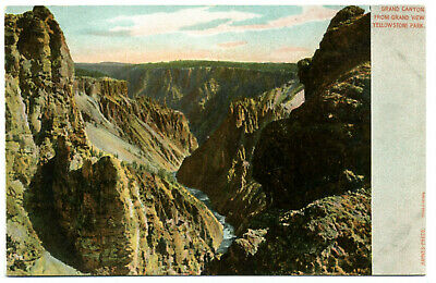 "Yellowstone Nat'l Park ""Grand Canyon Gr View"" Unposted Haynes ""Autochrome"" 1905"