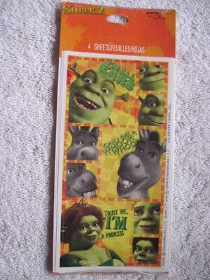 4 Shrek 2 Sticker Sheets Dreamworks 2004 Party Express Hallmark Fiona Donkey