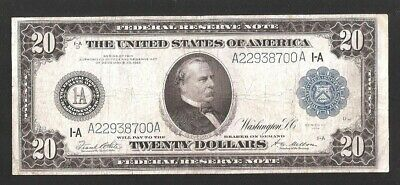 Beautiful Solid A Block Type A Boston 1914 $20 Large Frn No Pinholes, No Tears