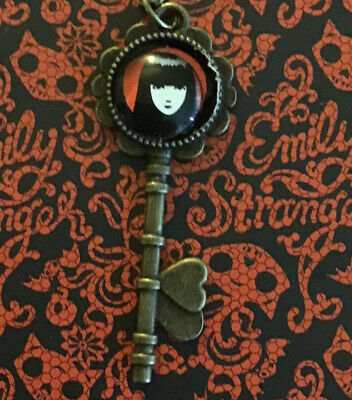 Emily The Strange Key With Glass Overlay Bronze Necklace Super Cute. 1 Of 3