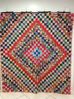 Vintage Fabric Coverlet Quilt Top No Batting 71 X 78 Repurpose or Use *READ