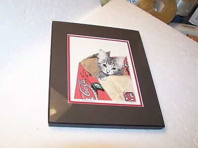 Kitten cat in a Cola bag 41 of 200 framed print A Adamson ?? 5 1/2 X 7 signed