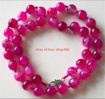 8Mm Antique Art Deco Genuine Rare Pink Chalcedony Agate Beads Necklace
