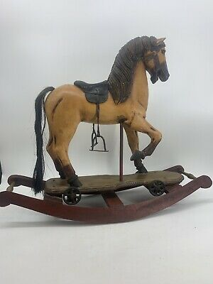 Antique Hand Carved and Painted Rocking Horse Leather Saddle Horse Hair Tail