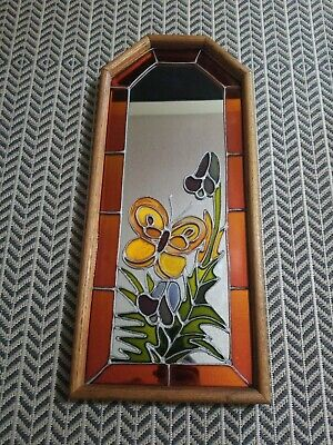 Artglass Stain Glass Art On Wood Framed Mirror - Butterfly And Flower