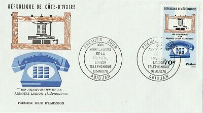 Postage Stamps IVORY COAST First Day Cover 1976 Centenary of the Telephone