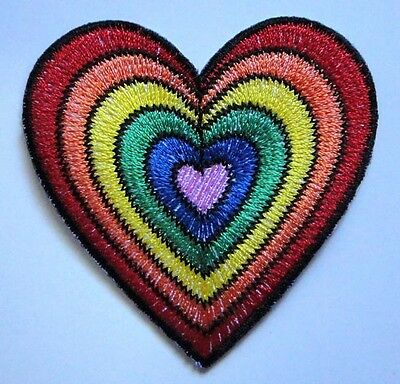 #02 Cute Pretty Colorful Hearts Embroidered Iron on Patch Free Postage