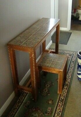 COPPER FINISHED ARTS & CRAFT STYLE TABLE & STOOL/STAND - 1960's