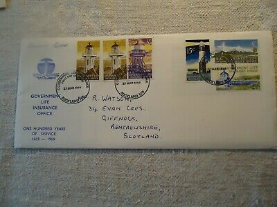 New Zealand envelope with stamps. 1969. Government life insurance 100 years