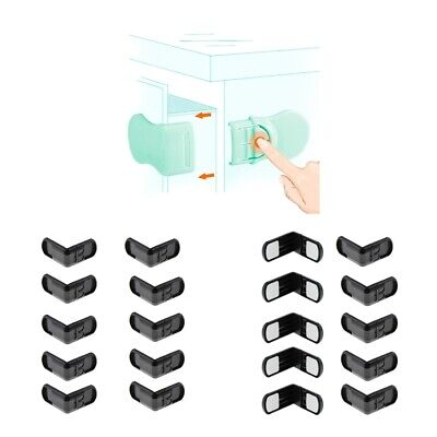 20 Pieces Right Angles Baby Safety Locks for Cabinet Drawer Toilet Seat