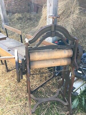 Vintage Old Mangle Cast Iron V Old