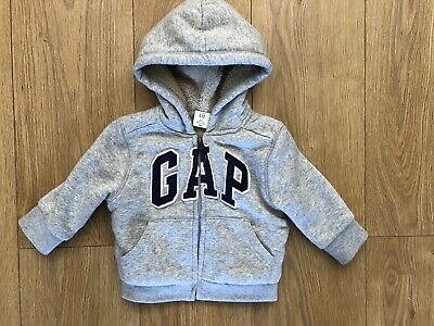 Gap Baby Boy Grey Fleece Lined Hoodie Age 6-12 Months