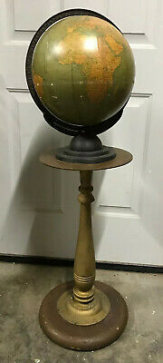 "Vintage GEORGE F CRAMS 12"" TERRESTRIAL GLOBE ON STAND INDIANAPOLIS INDIANA"