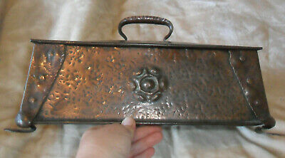 Antique arts and crafts nouveau copper wood lined hammered box yorkshire rose