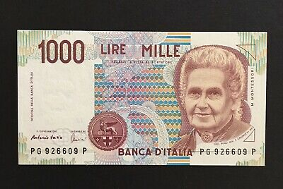1990 Italy Banca D'Italia 1000 Mille Lire Mille Italian Bank Note Currency