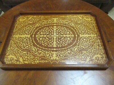 Antique Wood Inlaid Serving Tray 18+26