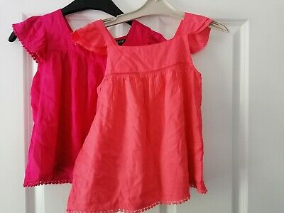Gorgeous Twin Pack Bnwot Girls Age 6-7 Years Light Summer Tops coral and pink