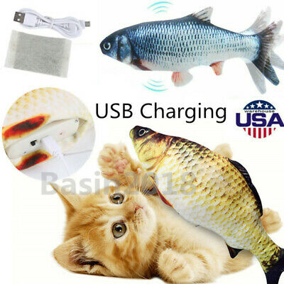 Cat Chew Toy 3D Wagging Fish Shape Catnip Toy Cats Biting Chewing Kicking Toy US