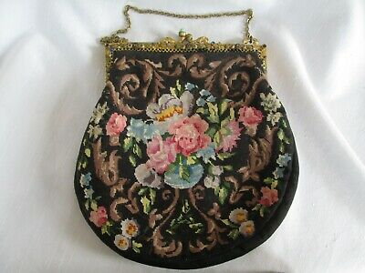 Antique Petit Point Needlepoint Multi Flower Beaded Enamel Handle Purse Handbag