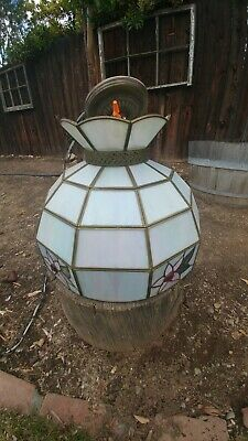 Antique stained glass hanging lamp