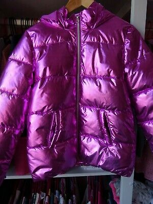 Girls Pink metalic color Coat size age 11 12 years F&F Spring