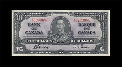 """1937 BANK OF CANADA KGVI $10 **Gordon & Towers** """"X/D"""" (( EF+ ))"""