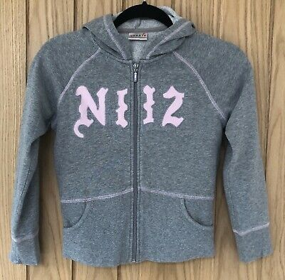 Girl's NEXT Grey with Pink Embroidered & Stitch Detail Zipped Hoodie Top Age 10